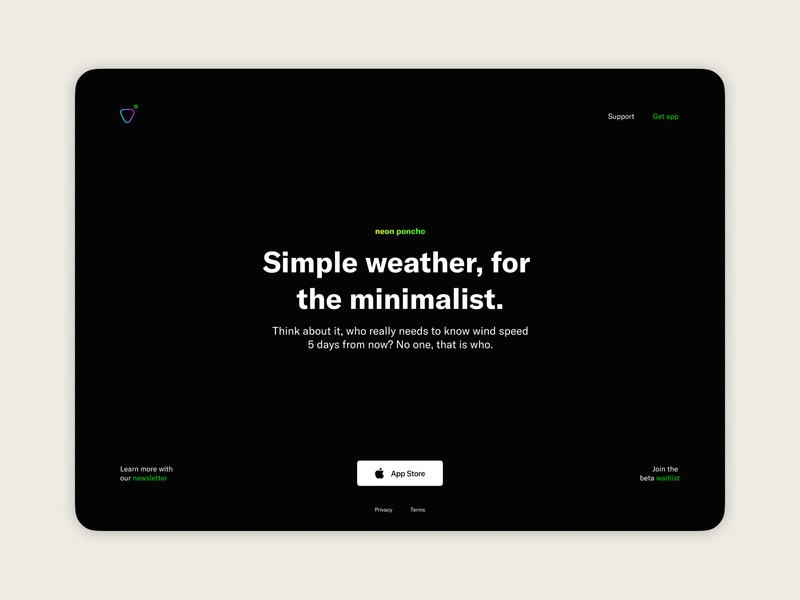 Weather app — Landing page concept (2 of 3) visual design product design weather app app landing page landing page ios app