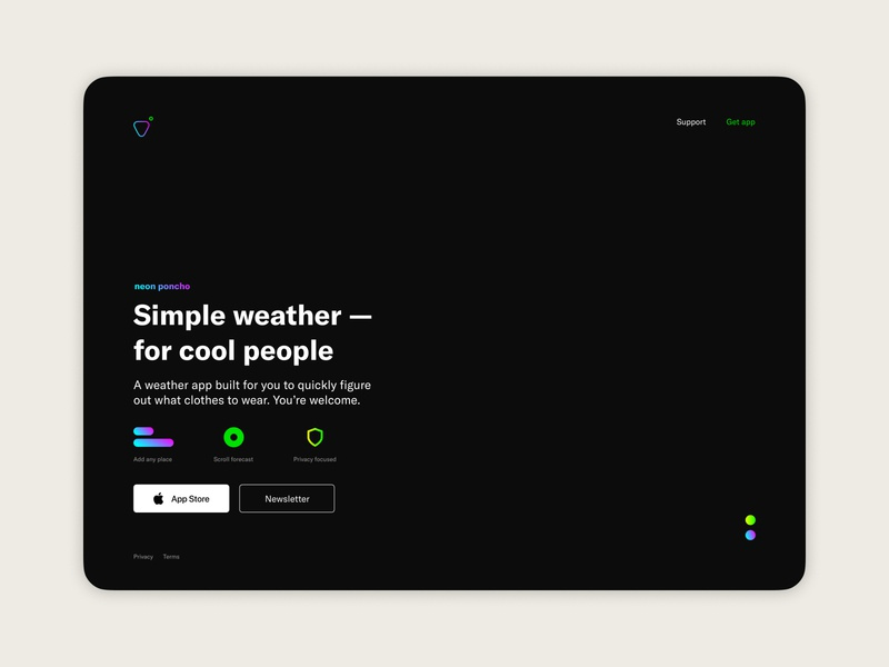 Weather app — Landing page concept (3 of 3) visual design product design weather app app landing page landing page ios app