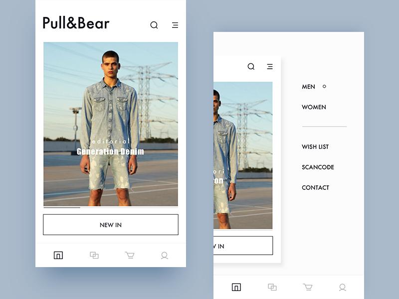 pull&bear  redesign / menu
