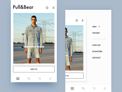 pull&bear  redesign / menu design ui layout fashion future shopping typography menu navigation interface clothing app