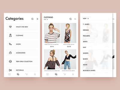 pull&bear  redesign / categories layout ui shopping clothing icon category