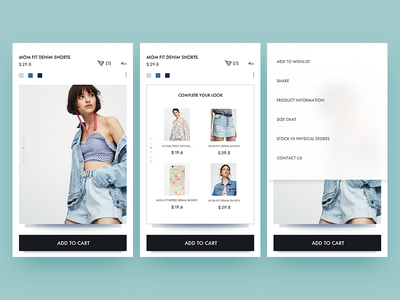 pull&bear  redesign / product information pullandbear app layout information interact typography ui shopping