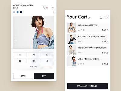 pull&bear  redesign / cart layout interface shopping cart clothing ui