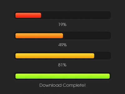 Color Changing Download Progress Bar bar dark download inset orange progress red yellow designmoo free resource psd