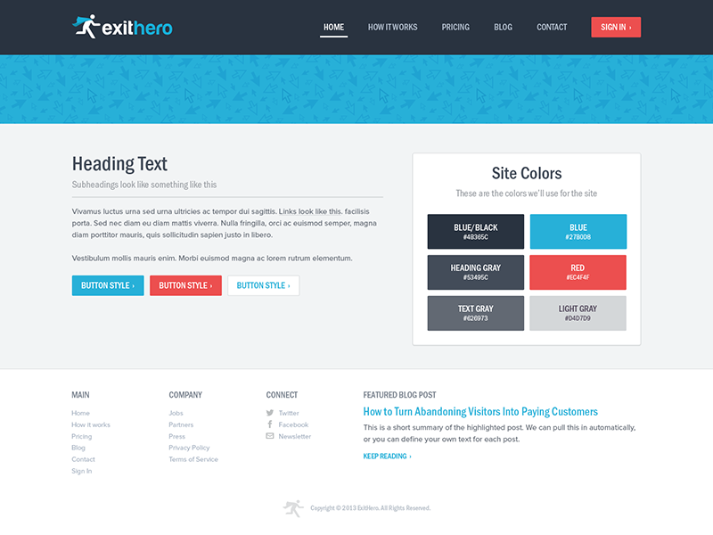 Exit Hero Styleguide/Wrapper styleguide website style buttons colors footer header navigation menu swatches