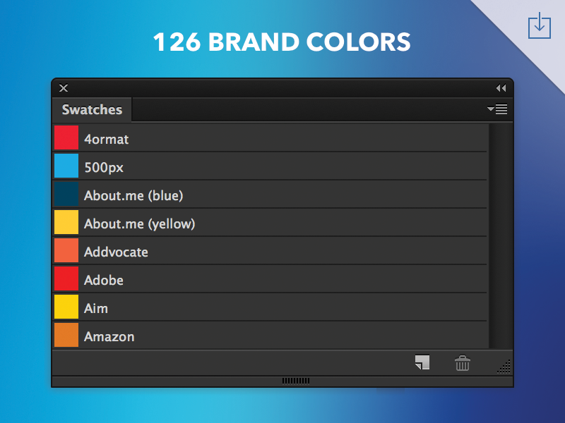 Freebie: Brand Colors Swatches free download photoshop aco swatches colors swatch brand freebie palette resource psd
