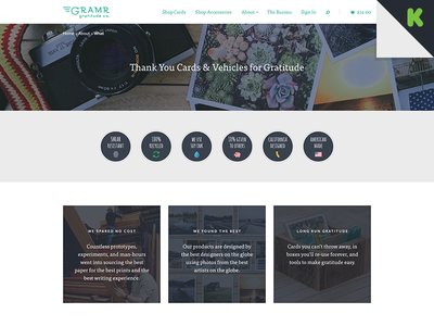 What is Gramr gramr web landing kickstarter green icons ecommerce woocommerce wordpress store responsive