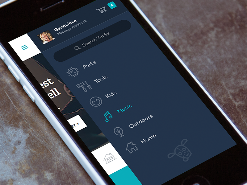 Tindie Mobile Menu mobile responsive app menu nav search icon sidebar iphone web categories