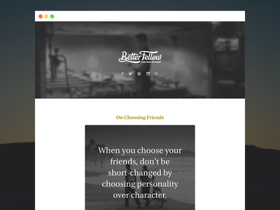 Better Fellow Tumblr blog tumblr quote quotes photo personal browser blur icons serif web website