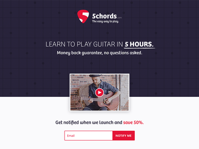 5chords.com Teaser music logo video landing page coming soon subscribe ecommerce branding website web launch guitar