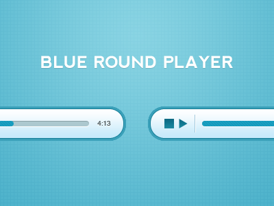 Blue Round Player glossy gradient inset mp3 music player