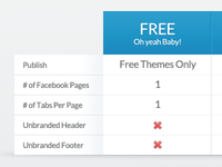 Customizer Pricing Table