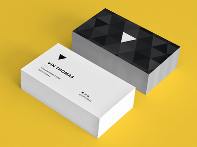 Vin Thomas Personal Business Card triangle modern print minimal icon branding cards stationary stationery card contact business card