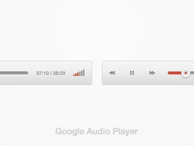 New Google Audio Player google red player audio slider volume icon inset free psd