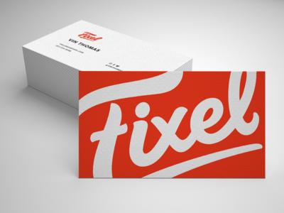 Business Card with New Fixel Logo rebrand redesign card business card identity bold orange handwritten type branding logo