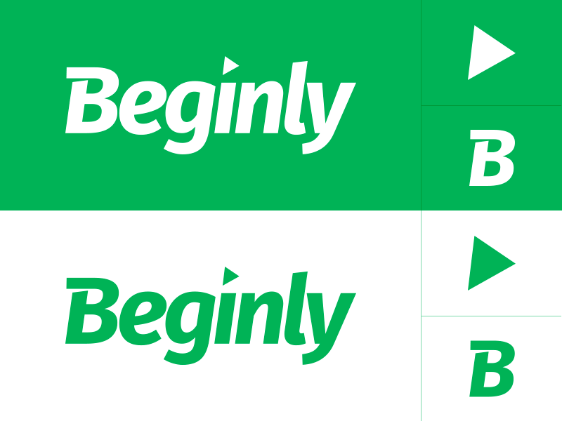 Beginly Brand Mark logotype arrow modern green icon symbol branding brand logo