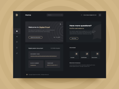 Digital Proof - Concept document certificate black dark gold proof blockchain web ui ux