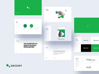 DECENT Corporate Identity – No. 1 grey blue keynote decentralized decent green corporate identity blockchain branding typogaphy logo