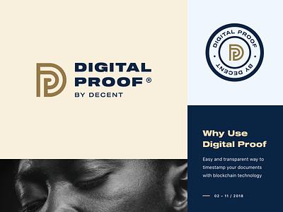 Digital Proof Logo vector proof blockchain dark blue gold typography type stamp logo branding brand badge