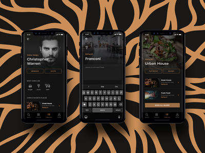 Runway V2.0 black gold restaurant iphone xs iphonex ios app design user interface ux ui