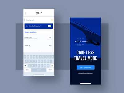 QKFLY - Search & Main Screen golden ratio design dark blue simple quick plane airport search iphone iphone 11 pro ios mobile uxui ui ux mainpage