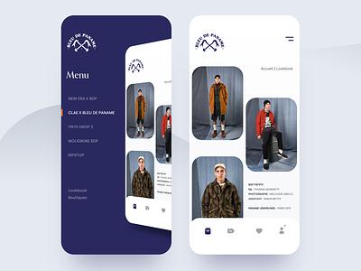 Menu Design Concept for Blue De Paname design grey ui ux shopping mobile iphonex iphone ios style simple blue strore e-shop shop menu