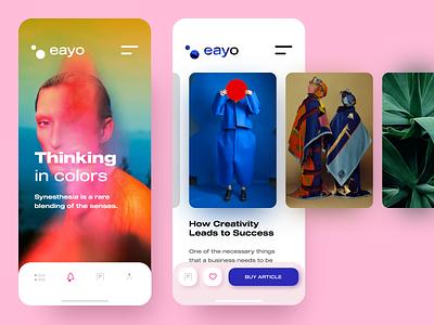 eayo - blogging platform concept menu icon menu tap bar icons wide font colorful vivid colors rounded corners blue pink iphone ios uxdesign uidesign uiux uxui ux ui blog