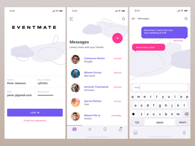 Eventmate - Refresh navigation bar tab bar text abstract messaging purple iphone event design mobile logo ios ux ui