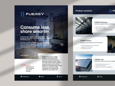 FUERGY - A4 Flyer indesign product living coral home battery solar panel dark blue blue typography layout green energy energy flyer a4 flyer editorial design print