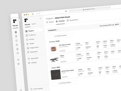 Minimize Menu moodboard schedule boards management app interior design web app design web app ux ui