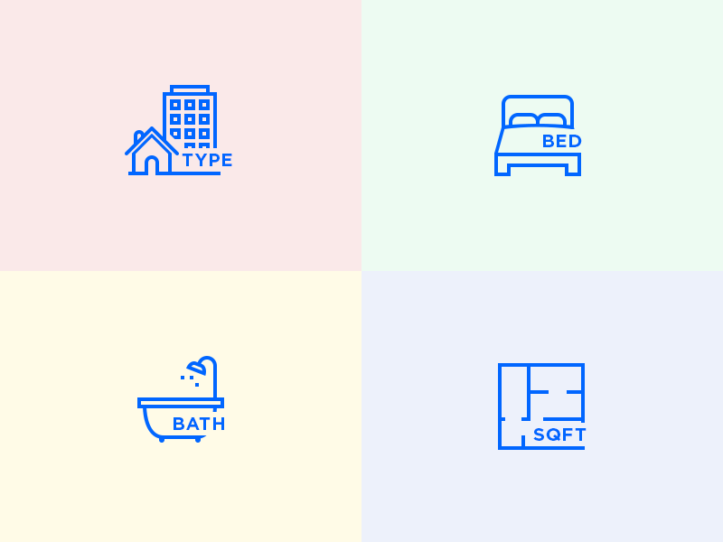 Property Icons building sqft bed bath type property icons