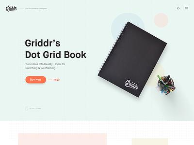 Griddr Hero notebook ecommerce buy minimal book dot grid wireframes web design
