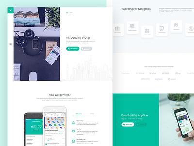 Wotip Full View web design mockup categories wechat freelancer ios app store menu landing page ux ui