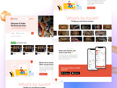 Elmenus Landing Page 101 food ordering web-design landing-page gradient website web interaction design clean ux ui