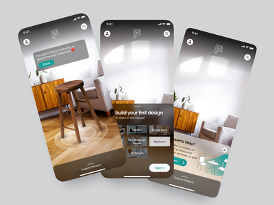 AR Furniture App ecommerce furniture ar mobile app gradient app ios interaction design clean ux ui