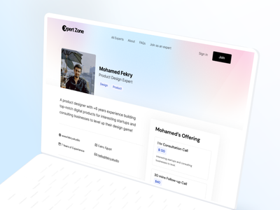 Xpert Zone - Expert Profile template landing-page web gradient website interaction design clean ux ui
