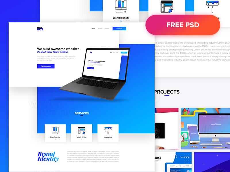 ICARUS - Free agency one page website psd freebie free gradient design template agency website web ux ui