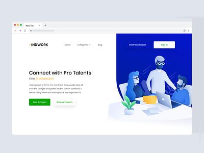 Indowrk • Freelancing Platform web design illustration gradient landing-page web website clean ux ui