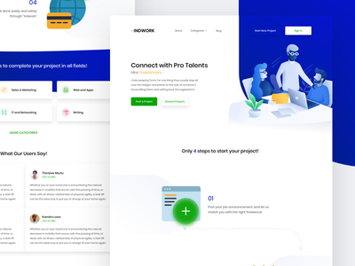 Freelancers hub platform template gradient landing-page illustration website web clean ux ui