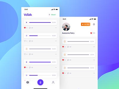 Votalk - Voice Notes Platform social sound voice app gradient design ios clean ux ui