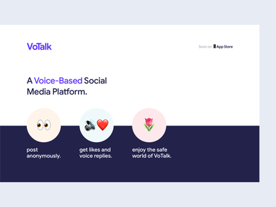 VoTalk - Intial Landing Page landing-page interaction design app illustration website web clean ux ui