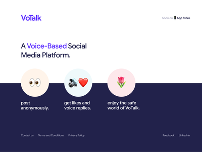 VoTalk - Intial Landing Page landing-page interaction design app illustration website web clean ux ui