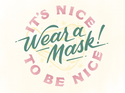 It's Nice to be Nice vintage inspired be nice wear a mask typography lettering hand lettering quarantine life quarantine
