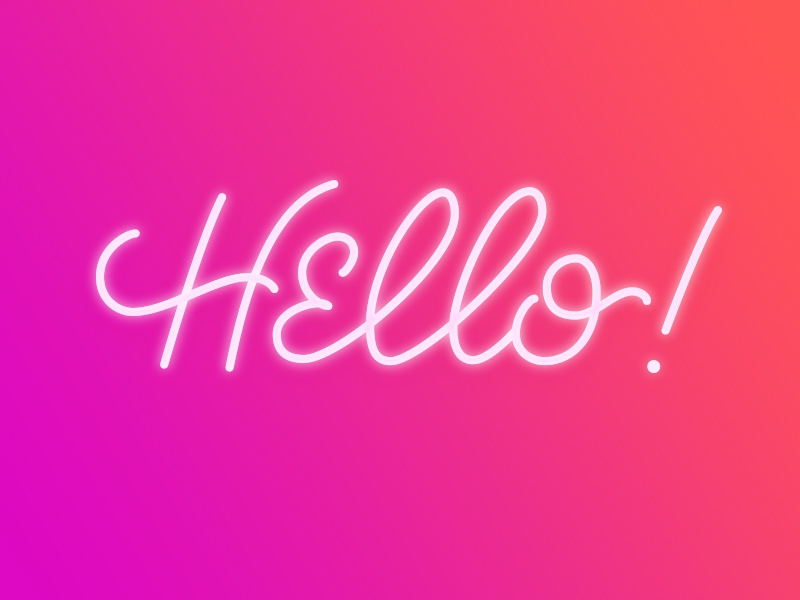 Hello! signage neon lettering