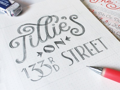 Tillie's on 133rd hand lettering typography lettering art deco
