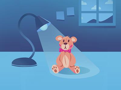 Teddy Bear Bedroom stuffed animal plush toy teddy bear artwork plush lamp bedroom bear illustration 2d vector colorful