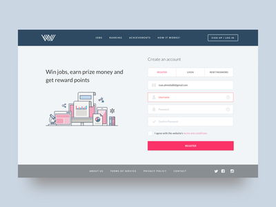 Landing page for a data science bidding site :) ui ui designer webdesign homepage sign up page signup page register page register illuasstration form sign up landing page