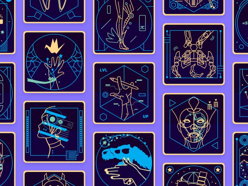 Virink Achievements Icons neon colors neon icon set futuristic space achievements cyberpunk icon design icons icon illustration virink