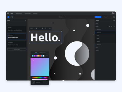mottor editor — new mode and tools ux design ux ui design ui product design site builder editor mottor lpmotor