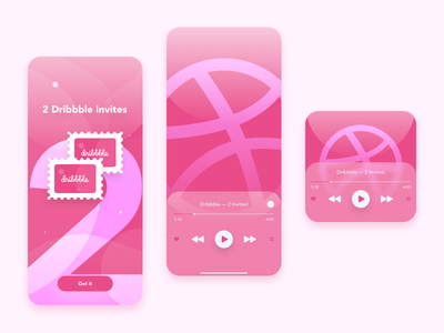 2 Dribbble Invites mobile music player dribbble shot dribbble invite dribbble